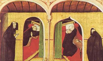 Een illustratie uit de Decamerone, eerste dag, vierde verhaal, Parijs, Bibl. de l' Arsenal ms5070