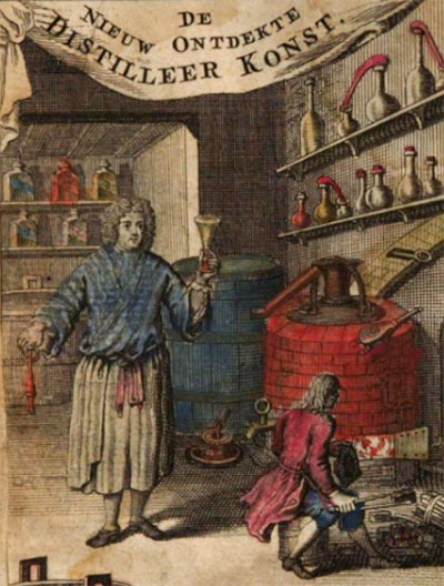 Fragment van het frontispice van 'De nieuw ontdekte distilleer konst' uit 1736