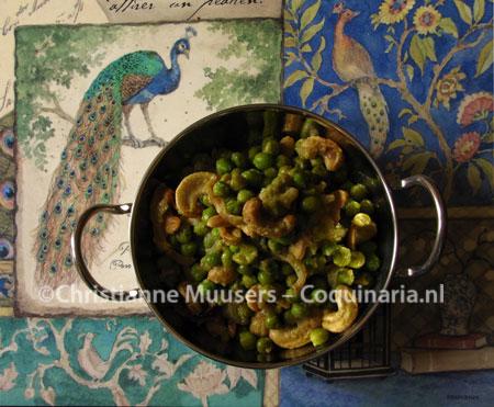 Doperwtjes met cashewnoten uit de Indiase keuken
