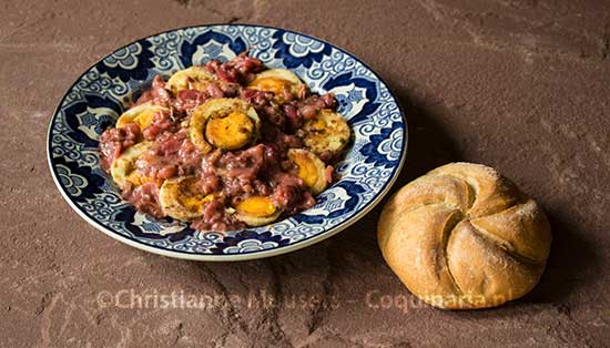 A dish with eggs for lent