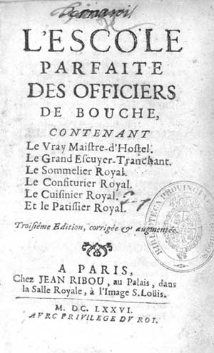 Titlepage of the 3rd edition of the Escole parfaite des officiers de bouche (1676)