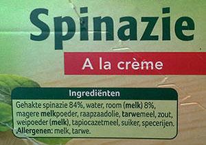 De ingrediëntenlijst van de Spinazie à la crème van Iglo