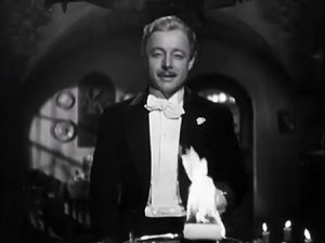 Heinz Rühmann in de openingsscene van Die feuerzangenbowle (1944)