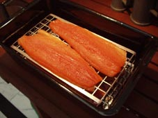 Cured fillets of salmon trout ready to be smoked