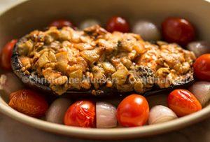 Gevulde aubergines uit 'Het volkomen vleesboek', mijn vegetarische versie