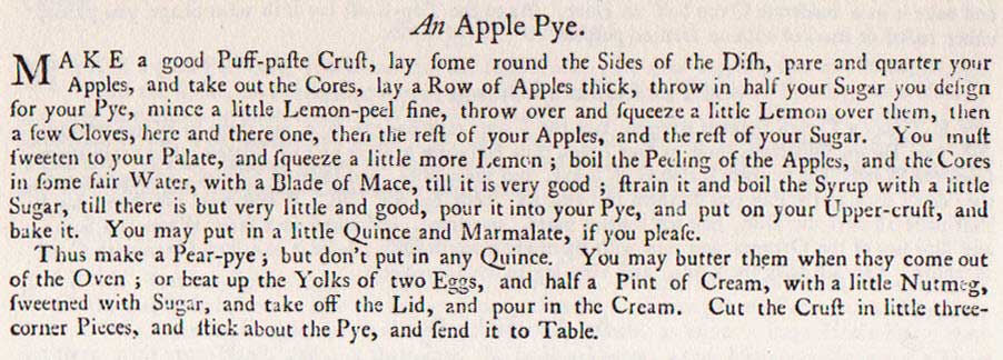 Hannah Glasse's recipe for Apple Pie
