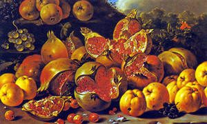 Still life with pomegranates. Luiz Meléndez, 1771. Source: Wikimedia