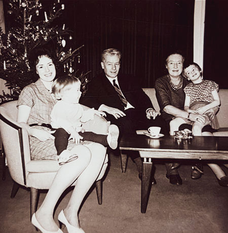 Christmas 1963. My mother and sister, my grandparents and I.