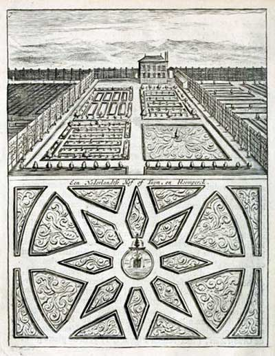 Example of 'a Dutch Court' from De Nederlandse Hovenier (The Dutch gardener, 1699)