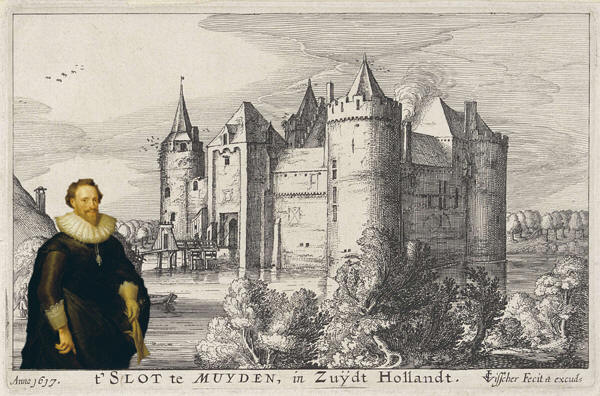 The Muiderslot in 1617 with as insert a portrait of Pieter Cornelisz Hooft (Mierevelt, 1629)