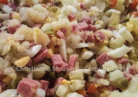 The Dutch potato salad before the mayonnaise is added