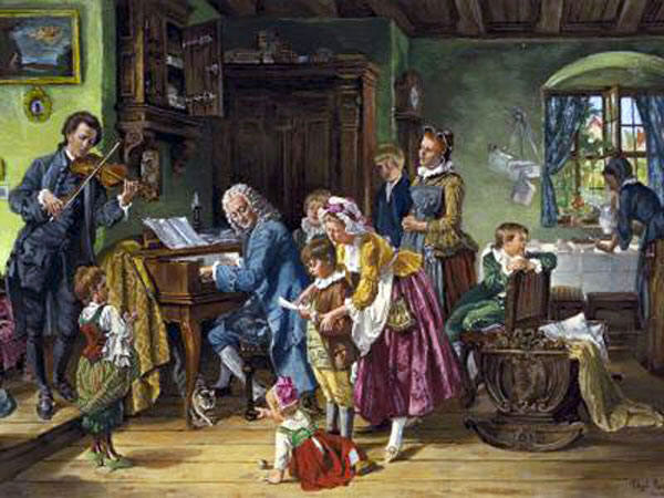 The Bach family at morning prayers. Toby E. Rosenthal (1848-1917)