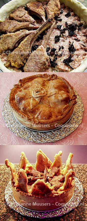 De kotelettentoert: de vulling, gebakken en met geopend deksel