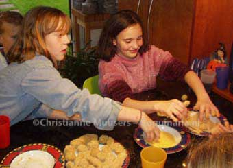 My daughter and friends making 'kroketten' for her birthday meal