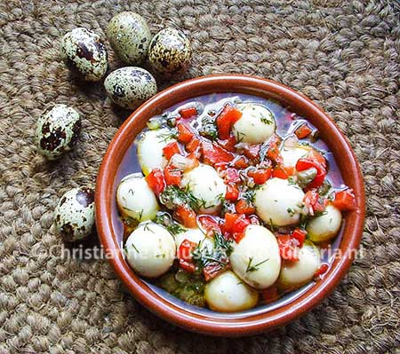 Marinated quail eggs, a Spanish snack