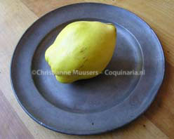 A quince on an 18th-century tin plate