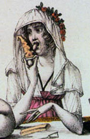 A woman eating ice cream from a lick glass. Le bon genre, plate 4, 1827. Detail