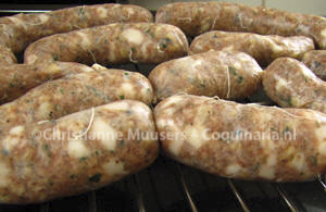 Lucanian sausages before they have been smoked