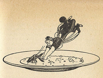 Illustration for bouillabaisse from the Extra Kookboek (Edmond Nicolas, 1955)