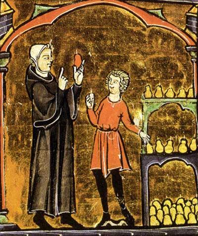 Opgeslagen (kwee)peren worden gecontroleerd op bederf (miniatuur, 15de eeuw)
