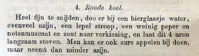 The recipe for red cabbage from Betje (1851)