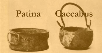 Patina and caccabus from 'Roman Cookery' by Flower and Rosenbaum