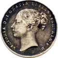 Een shilling uit 1860 met het profiel van koningin Victoria