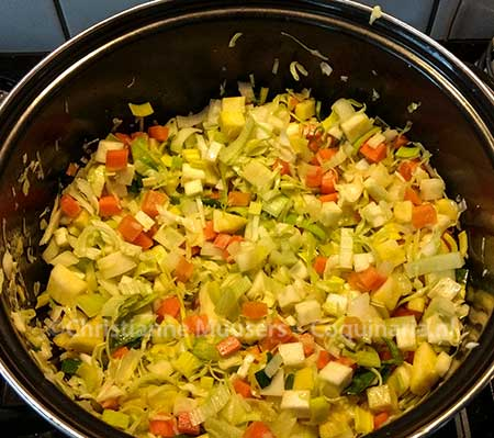 The chopped vegetables for the vegetarian winter stock