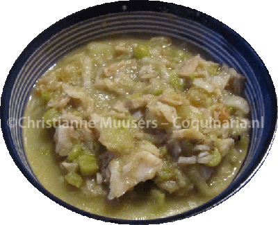 Stockfish with peas, apple and raisins