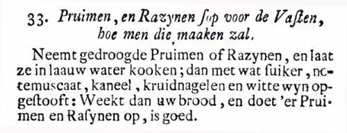 Tekst van het recept voor pruymensop, Volmaakte Hollandsche Keuken-Meid 1761, p.125