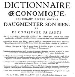 Title page from the edition of the Dictionnaire OEconomique from 1732