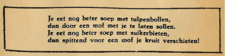 This little poem was published in Ons Volk, a paper for the resistance, on 15 February 1945. Source: Delpher.nl