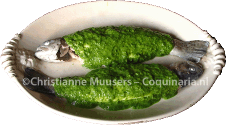 Two trout covered with green sauce