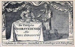 Frontispice van De Cierlijcke Voorsnydinge Aller Tafel Gerechten (1664)